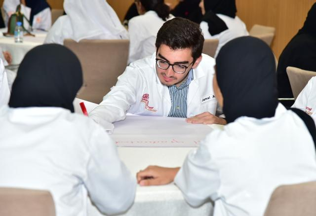 Students from different health care related colleges in Qatar, come together to tackle the mock case
