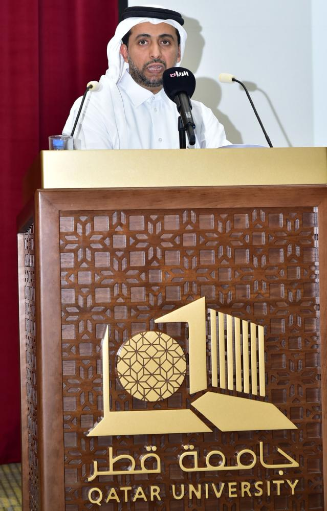 Dr Hassan Al Derham President of QU during his speech