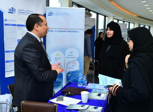 Prof Mariam Al-Maadeed at the College of Arts & Sciences' booth