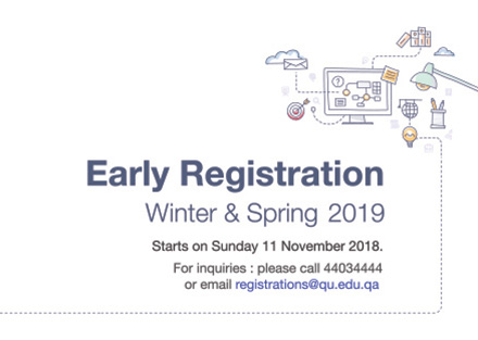 Early REgistration Winter & Spring 2019 Starts on Sunday 11 November 2018 for inquiries please call 44034444 or email registration@qu.edu.qa