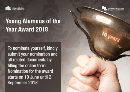 Young Alumnus of the Year Award 2018 - to nominate yourself kindly submit your nomination and all related documents by filling the online form nomination for the award starts on 10 june until 2 september 2018